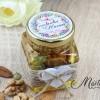 Mărturii de nuntă - borcănașe cu miere - flori în culori calde MN-024