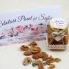 Mărturii de nuntă - borcănașe cu miere - flori în culori calde MN-032