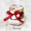 Mărturii de nuntă - borcănașe cu miere - panglica roz MN-041