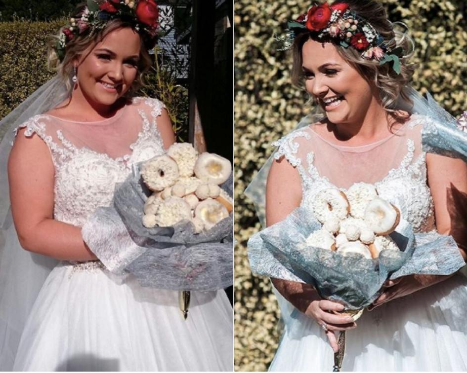 Невеста пришла на свадьбу с букетом из пончиков