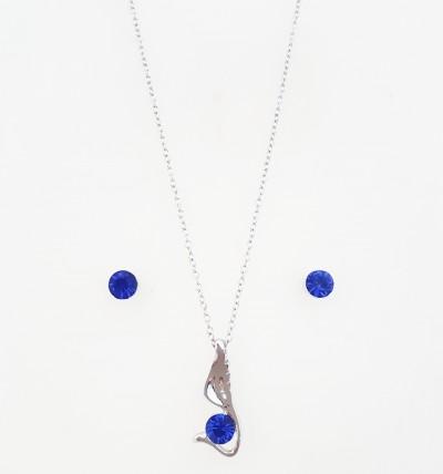 Bijuterii Kuki: Set Swarovski Angel Albastru Închis