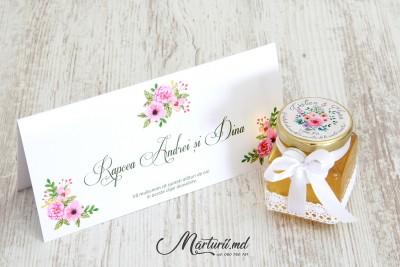 Mărturii de nuntă - borcănașe cu miere - floral MN-025