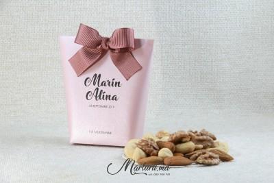 Mărturii de nuntă - cutiuțe cu asorti de nuci CN-001 роз
