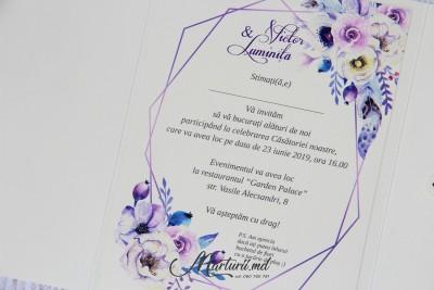 Invitație bej cu violet IN-035
