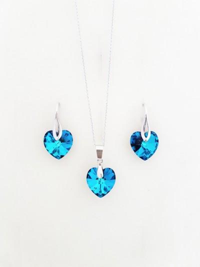 Bijuterii Kuki: (set swarovski paris albastru mare argint 925)