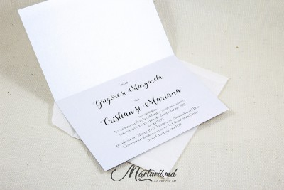 Invitație cu foto pe hârtie argintie IN-025