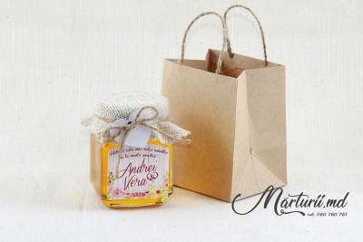 Mărturii de nuntă - borcănașe cu miere - pioni MN-029