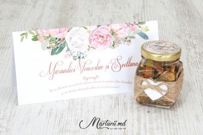 Mărturii de nuntă - borcănașe cu miere - culoare pudră MN-039