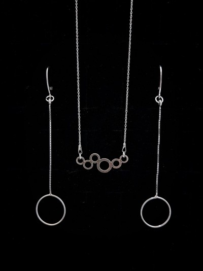 Bijuterii Kuki: (set cercei+colier  argint 925)