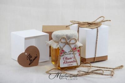 Mărturii de nuntă - borcănașe cu miere în cutie MN-036