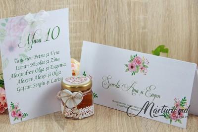 Mărturii de nuntă - borcănașe cu miere - inimă din flori MN-018