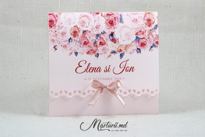 Invitații de nuntă cu trandafiri roz - Marturii.md