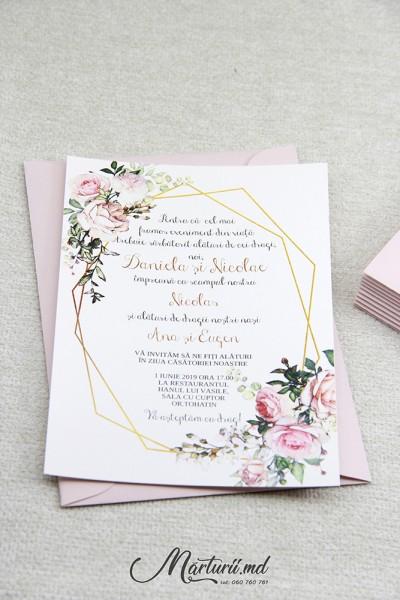 Invitații de nuntă cu pioni roz - Marturii.md