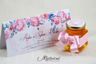 Mărturii de nuntă - borcănașe cu miere - panglica roz MN-034
